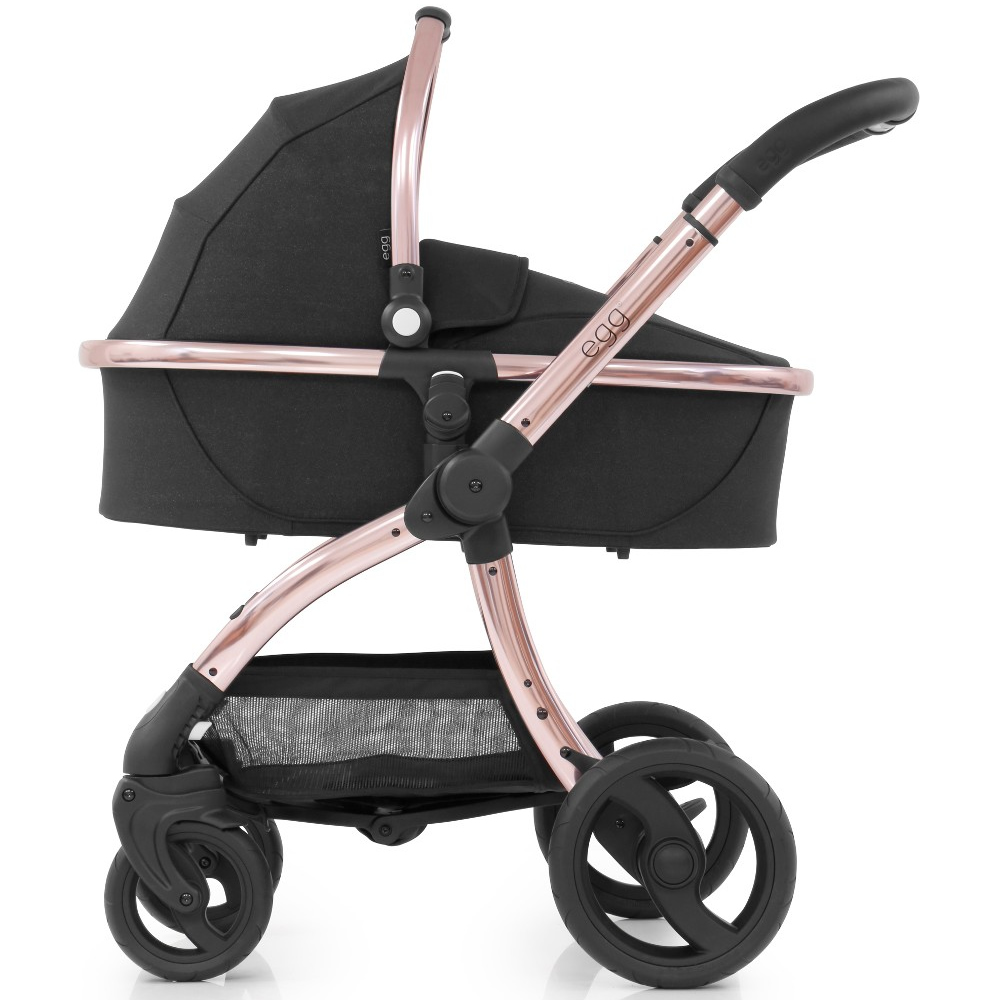 Egg Stroller For Twins Egg Stroller Carrycot Luxury Seat Liner Diamond Black With Rose Gold Chassis