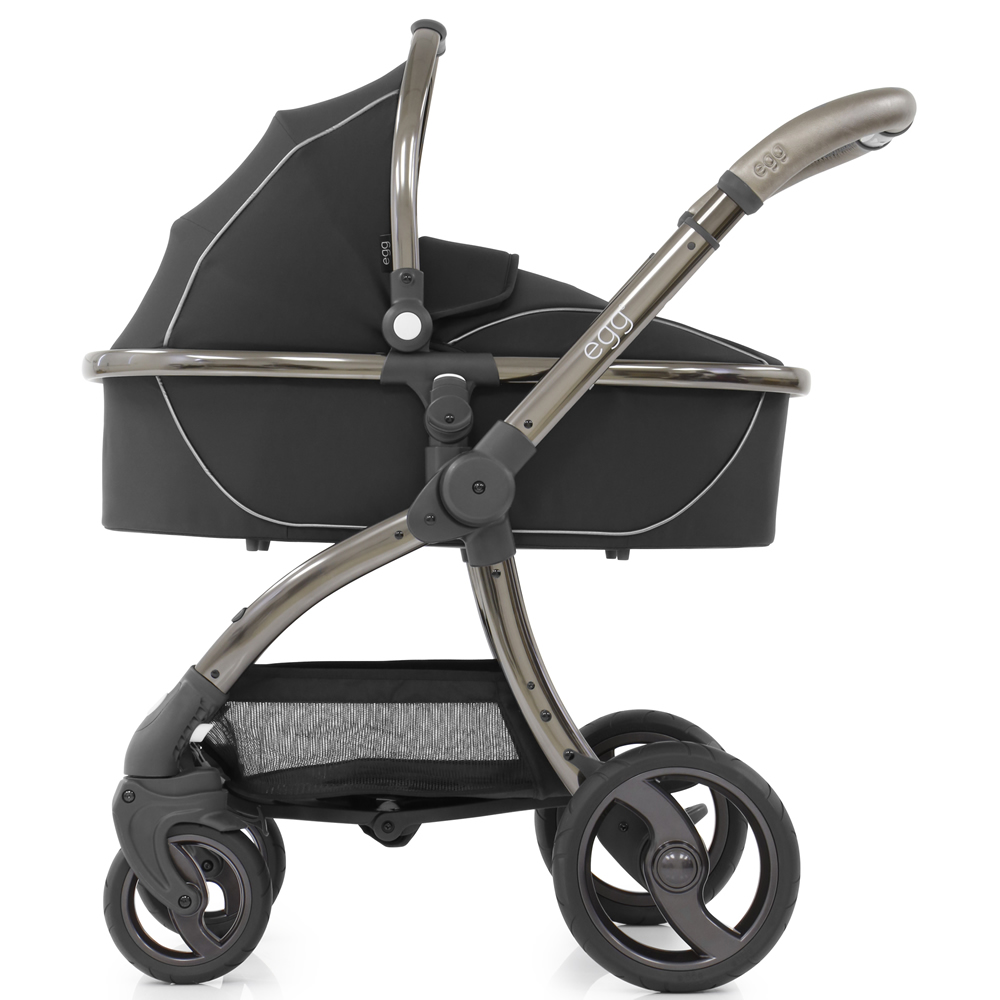 Egg Pram Gunmetal Egg Stroller Carrycot Luxury Seat Liner Shadow Black
