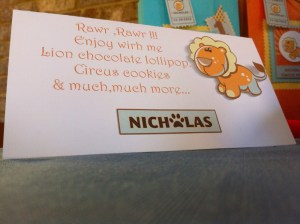 circus cookies, lion chocolate...
