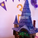 Rapunzel home over the cake