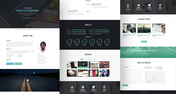 20 Best Free HTML Resume Templates By Trendy Theme - downloadable resume templates free