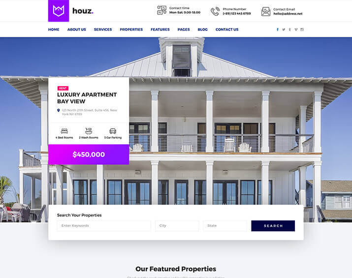 Houz - The Best Real Estate Html Template By Trendy Theme