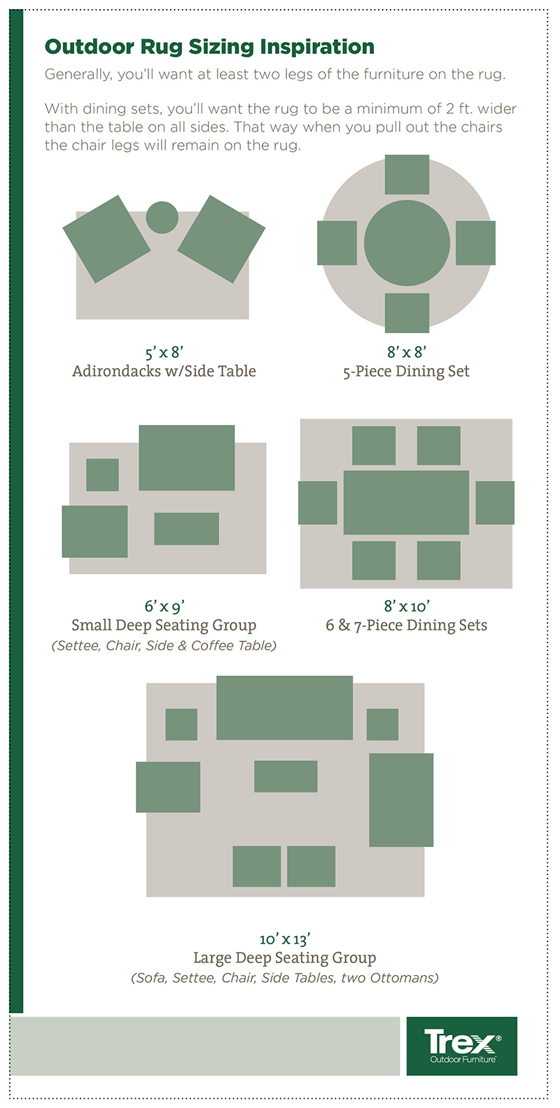 Rug Sizing Trex Furniture Blog Rug Sizing Guide Living Outdoors