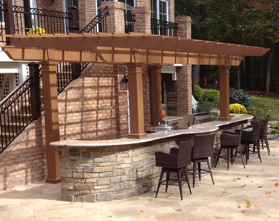 Capital Coast Kitchens Painted Trex Pergola Kit Over Outdoor Kitchen Maryland