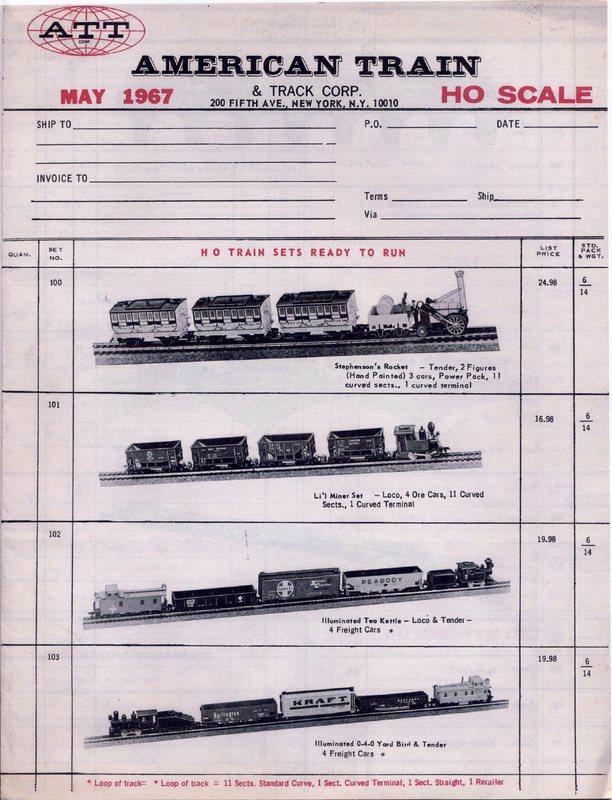 ATT 1967 Retail Order Form  Price List - Tri-ang Railways in Canada