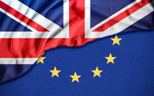 Union Jack and Eu flag
