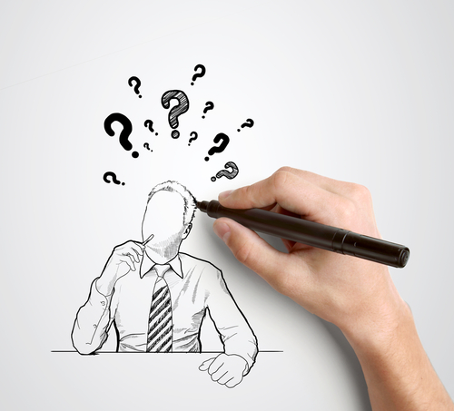 Hand-drawn businessman with question mark over head