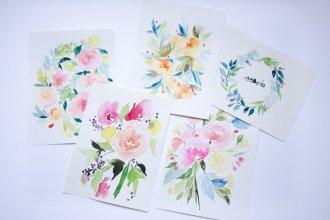 un an aquarelle fleurs watercolors florals-1
