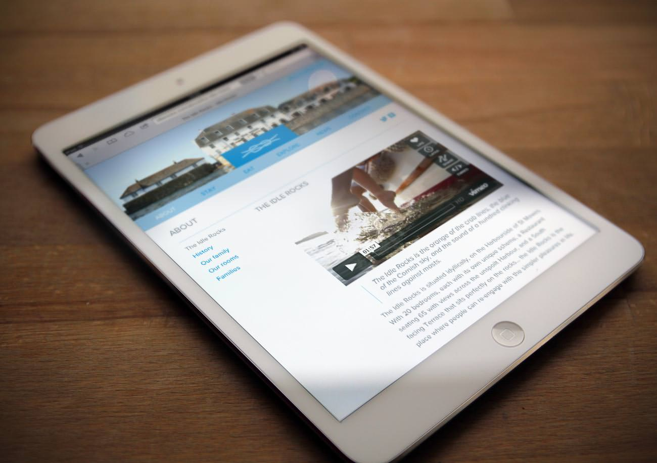 Idle Rocks hotel website displayed on an iPad Mini — Web Design by Tribus Creative