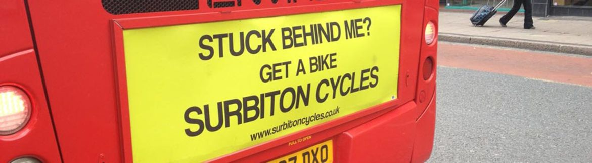 A photo of the Surbiton Cycles bus advert – Tribus Creative – Ad campaign analysis