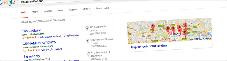 An example of Google Local listings for London restaurants — Getting found with Google+ Local pages