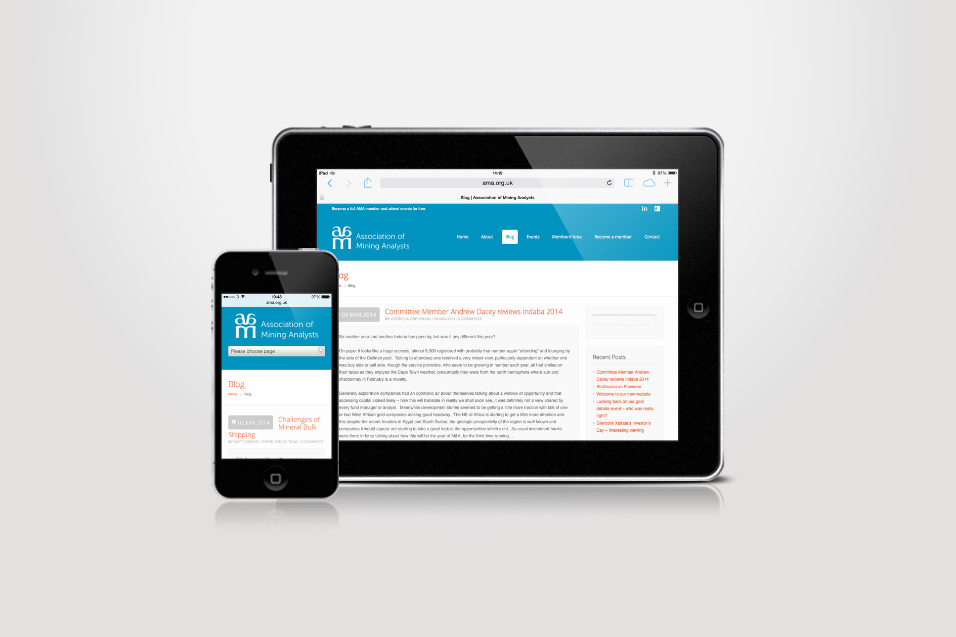 The responsive website design for the AMA displayed on phone and tablet | Tribus Creative - web design for small business