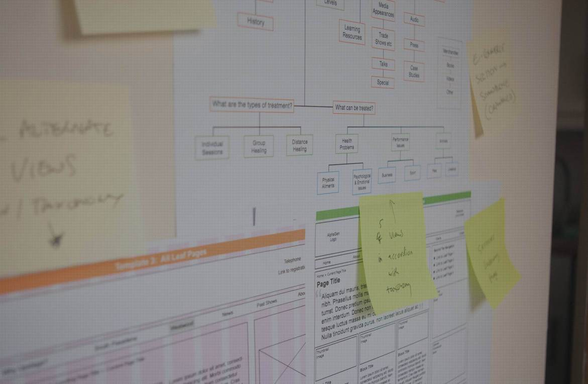 Web strategy plans and post-its on a wall – Tribus Creative: Digital strategy for small business