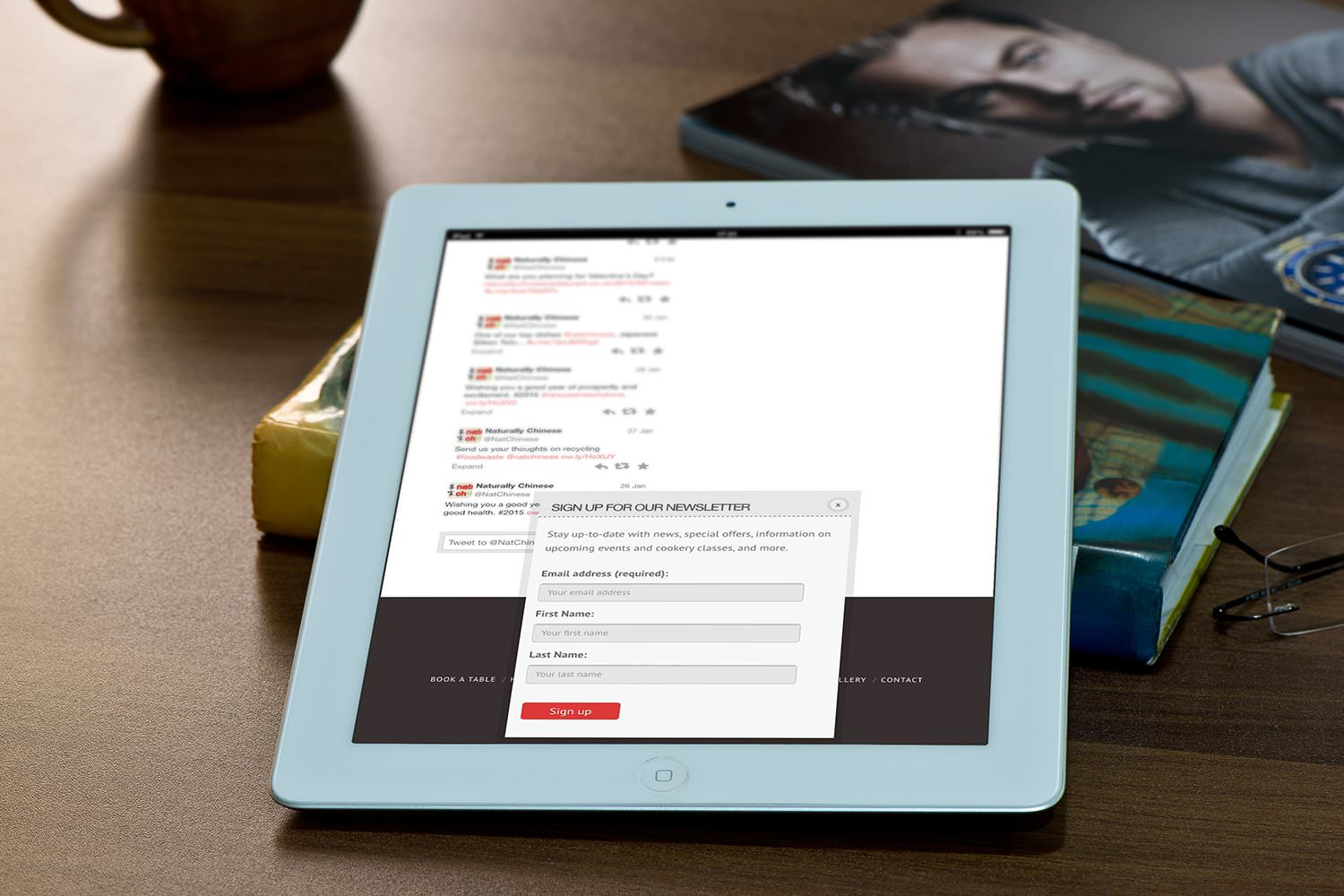 The newsletter signup popup of the Naturally Chinese website displayed on a tablet –Tribus Creative – website and marketing strategies for small business