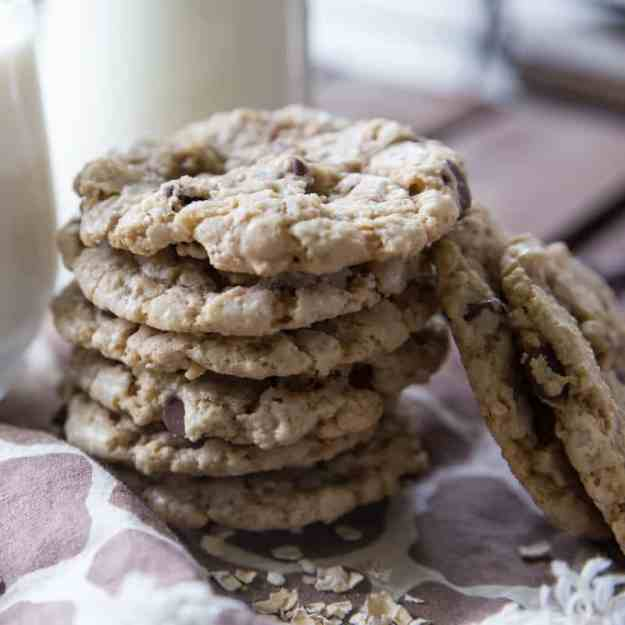 Crunchy Oatmeal Chocolate Chip Cookies - Tried and Tasty