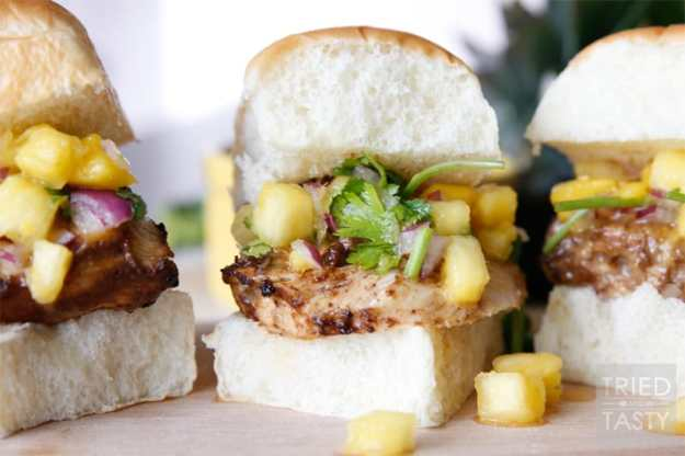 Jerk Chicken Sliders with Pineapple Mango Salsa // Tried and Tasty
