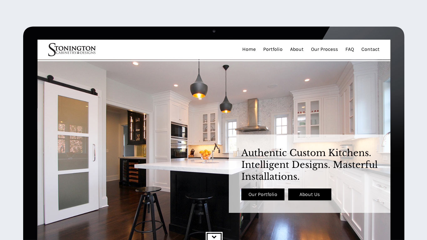 Homepage of wordpress interior design website design for stonington cabinetry in new jersey interior design website design for stonington cabinetry trillion
