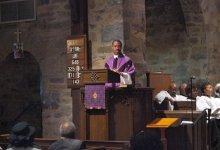 Rev. John Harmon preaches at Trinity Episcopal Church in Washington, D.C.