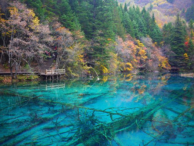 Bing Fall Desktop Wallpaper Jiuzhaigou Valley Turquoise Lakes In China