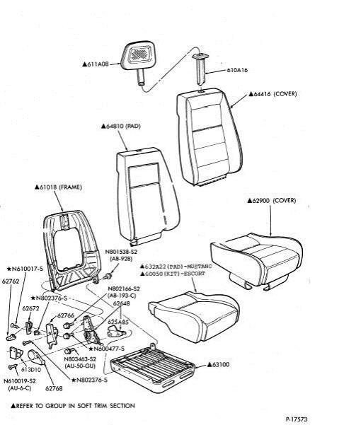 ford mustang seat diagram