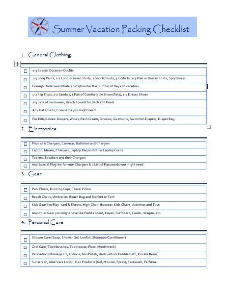 Summer Vacation Packing Checklist - Free  Printable - Tripsaroo - summer vacation checklist