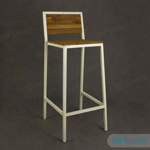 Bar stool made of wrought iron and wood