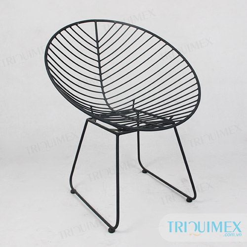 GH-136 powder coated iron fishbone chair