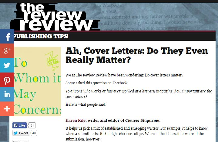 Ah, Cover Letters Do They Even Really Matter? The Review Review