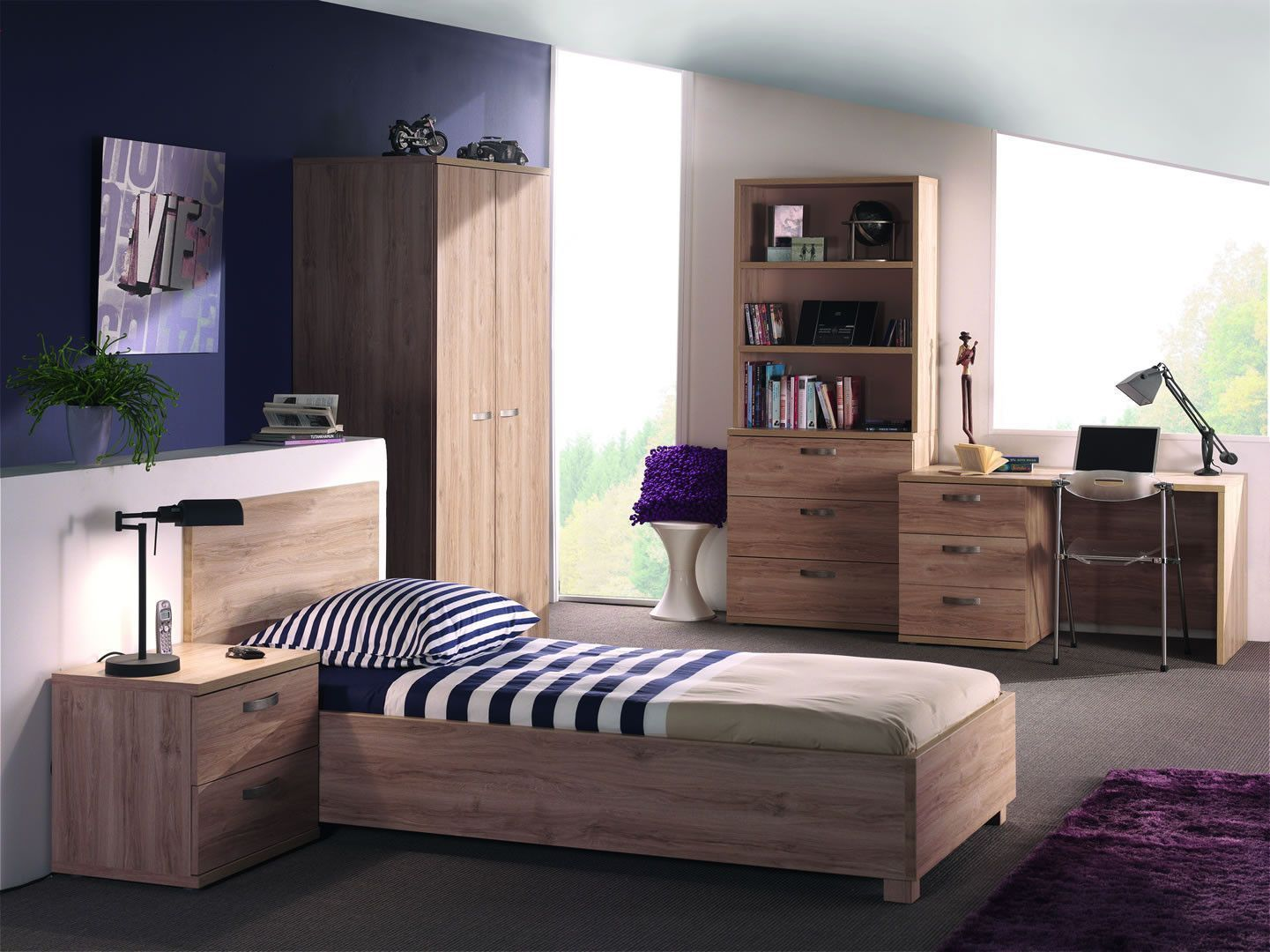 Chambre A Coucher Simple Made In Belgium Lit Simple Coloris Bois Tom