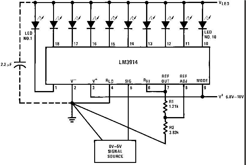 lm3914 voltmeter schematic