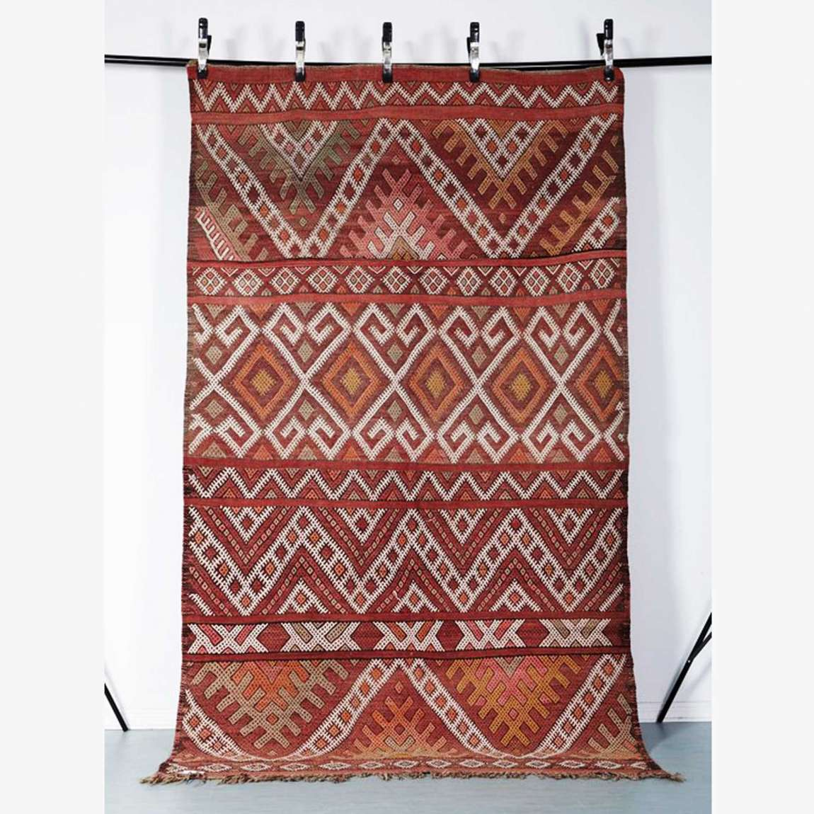 Kelim Berlin Vintage Kelim Rug Mednin Handmade With Colourful Geometric Patterns