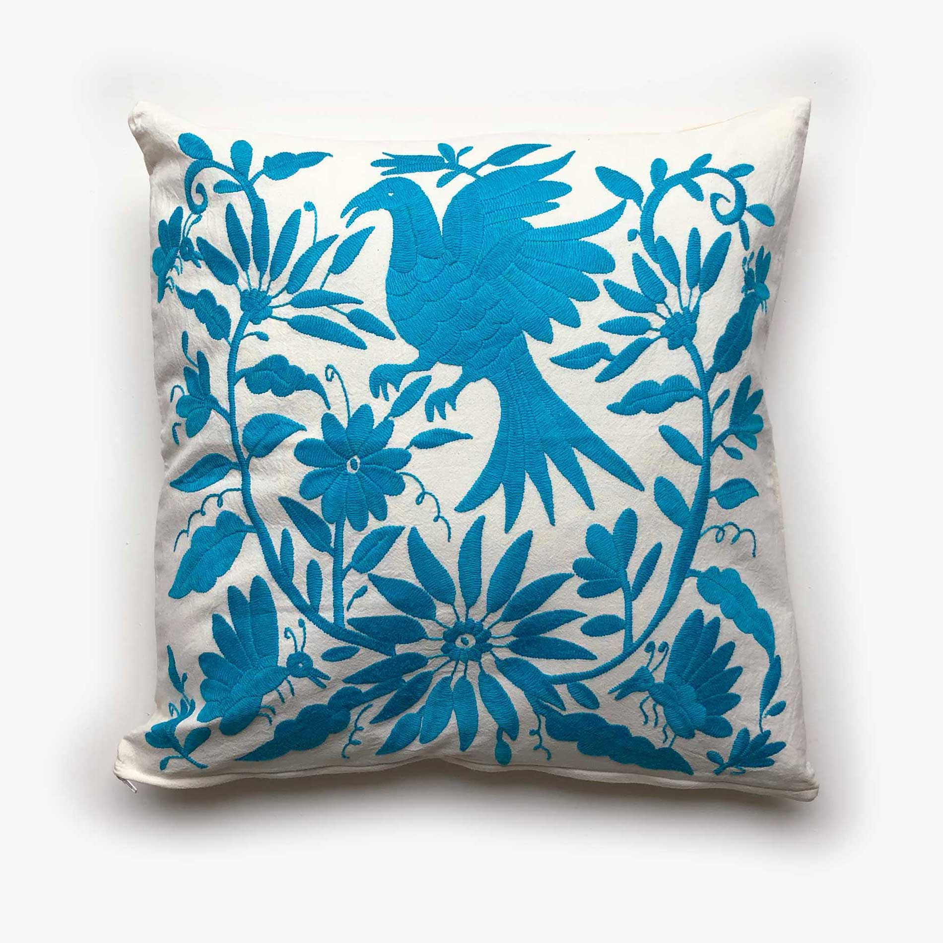 40x40 Kissenbezüge Sofa Hand Embroidered Otomi Cushion Turquoise 1 Made From 100 Cotton