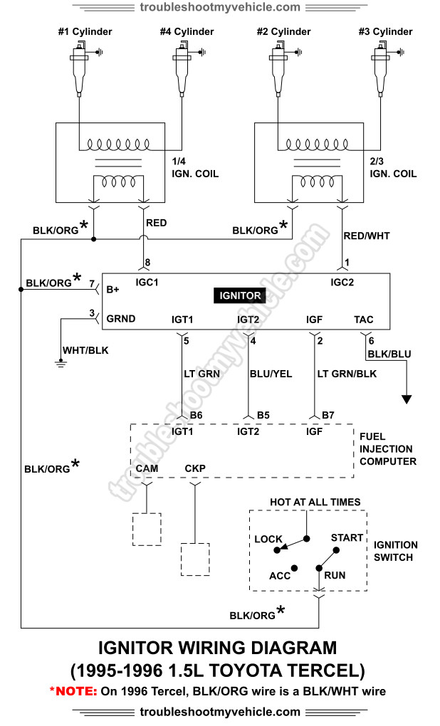 Ignitor Wiring Diagram 1995-1996 15L Toyota Tercel