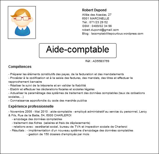 modele cv aide comptable gratuit