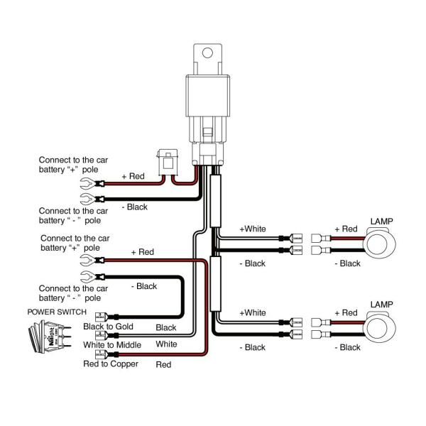 wiring harness for led light bars relay 12v