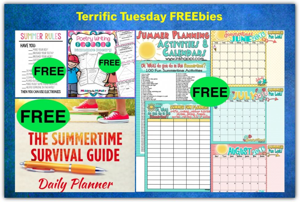 FOUR FREEbies Summertime Survival Guide Daily Planner, Diamante