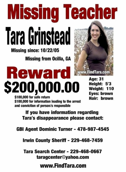 News on the missing persons case of Tara Grinstead - TRUECRIMEGUYCOM - missing person flyer