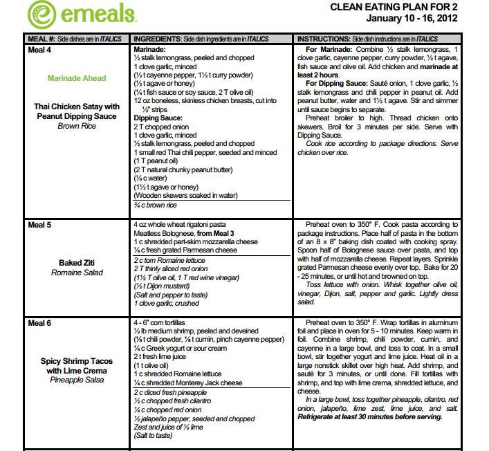 emeals \u2013 truegoodandbeautifulnet - menu list sample