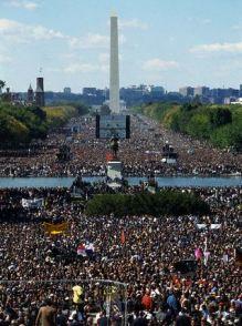 Million Man March Participants and Washington Monument