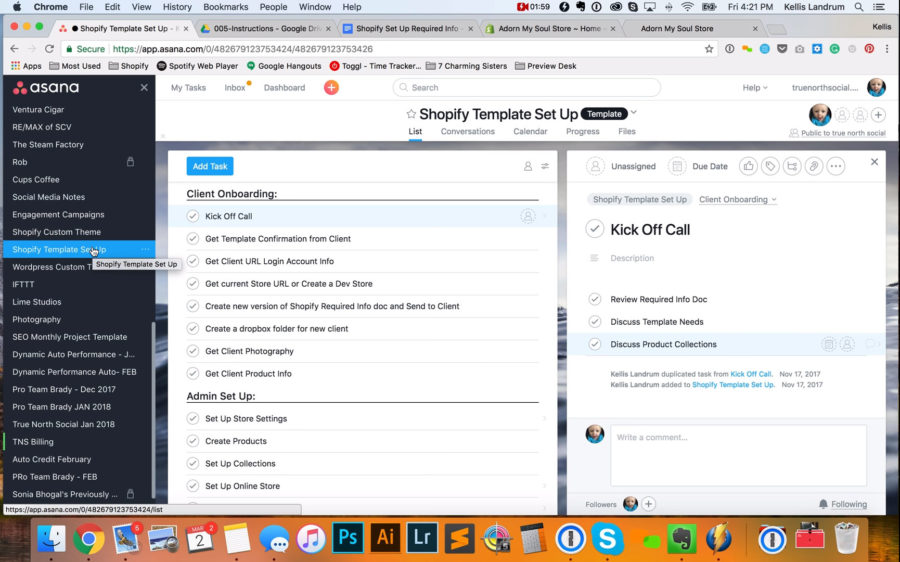 Shopify Store Template Set Up with Asana