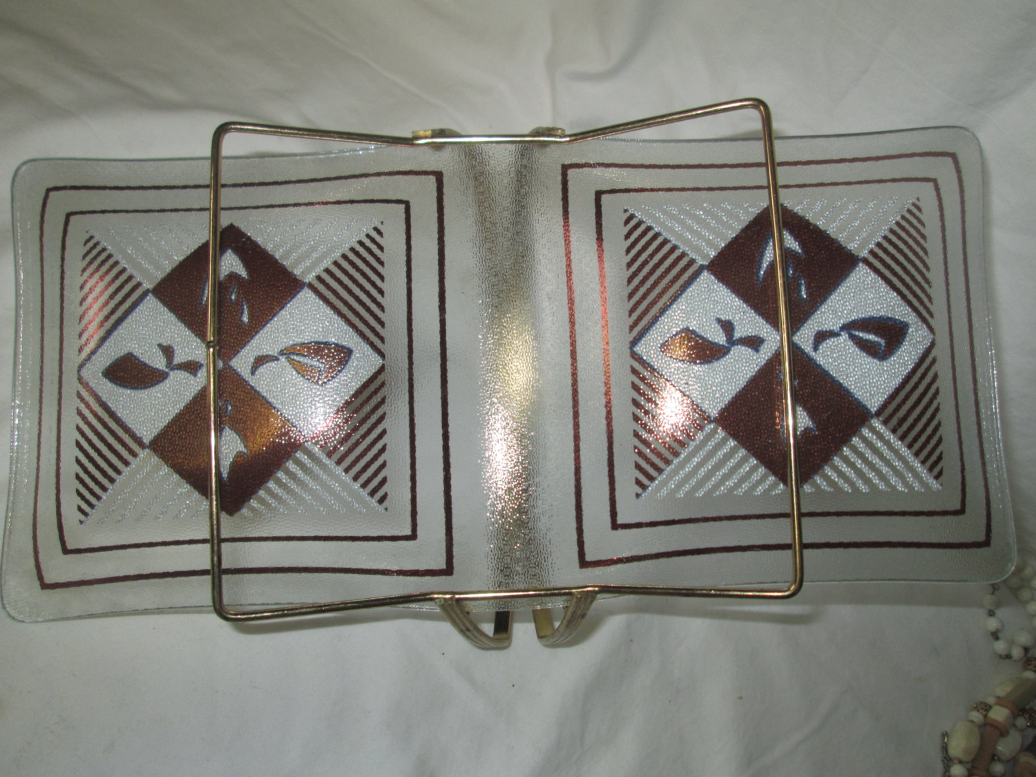 Patterned Glass Mid Century Modern Divided Dish On Metal Stand Stripes Boomerangs Patterned Glass Gold And White