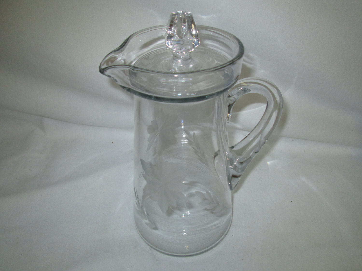 Small Glass Pitcher With Lid Vintage Liquor Lemonade Iced Tea Decanter Clear Cut Glass