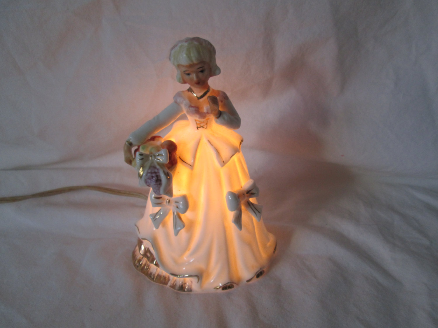 Girl Night Lights Fantastic Fine Bone China Victorian Girl Night Light With Flower Basket Japan Mid Century