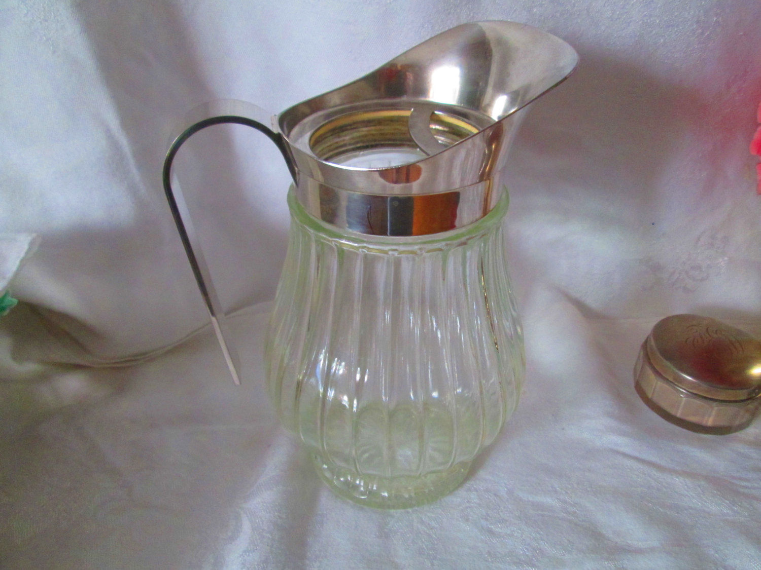 Large Glass Pitcher With Spout Vintage Clear Glass Ribbed Pitcher With Silverplate Rim