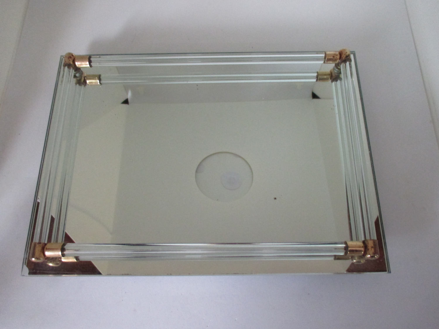 Mirrored Glass Vanity Vintage Dresser Vanity Tray Mirrored Glass With Glass Rods