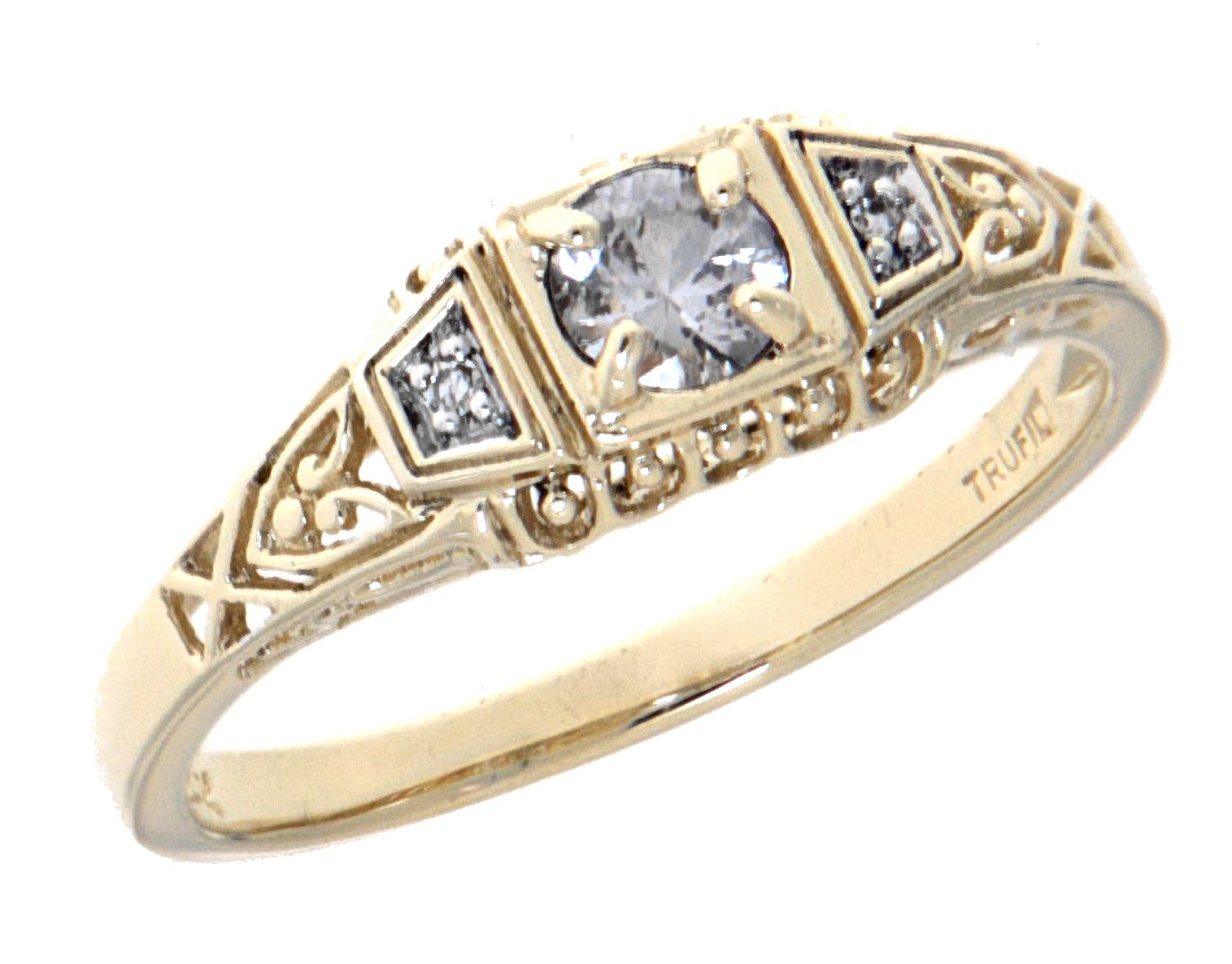 Art Deco Style Jewelry Boxes White Sapphire Art Deco Style 14kt Yellow Gold Filigree Ring W 2 Diamonds