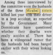 mirabal sisters husbands interviwd by OAS in 1961 june-lies that they were hung in front of the wives