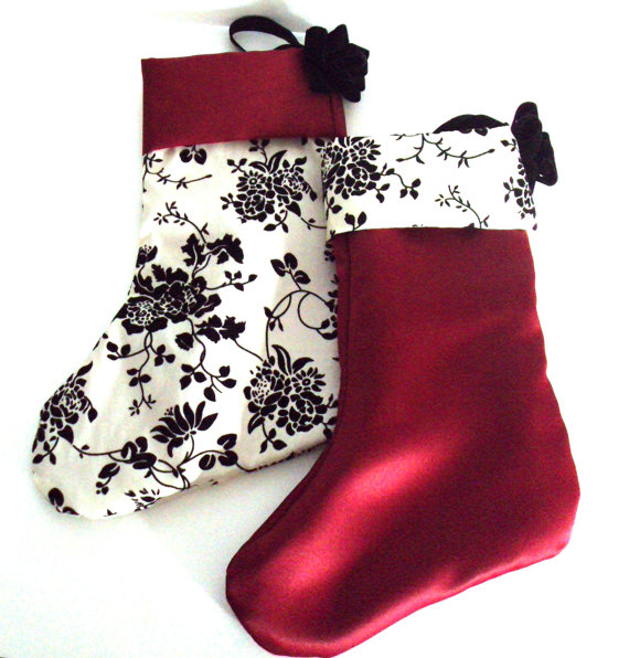 red, cream and black Christmas stockings