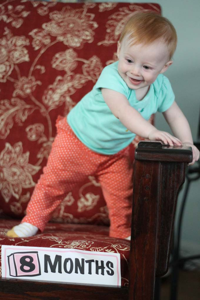 Eight-Month Old Baby Standing