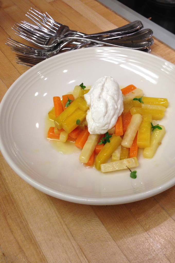 Olive Oil Poached Vegetables with Horseradish Creme Fresh